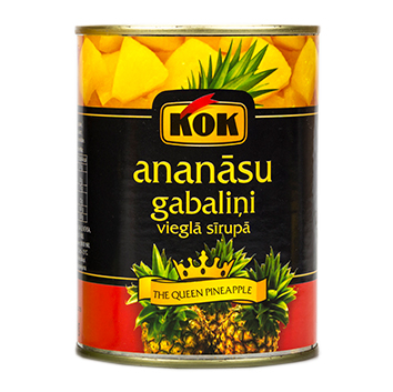 Ananāsu gabaliņi vieglā sīrupā KOK 565g/300g
