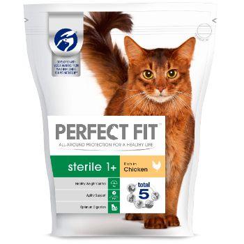 Barība kaķiem Perfect Fit ar cāļu gaļu steriliz.kaķiem 750g