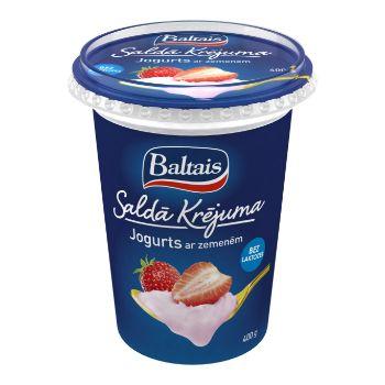Jogurts saldā krējuma ar zemenēm 5% 400g