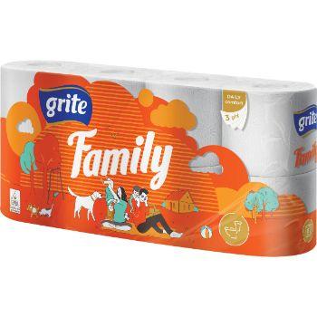 Tualetes papīrs Grite Family 3 slāņi 8 ruļļi