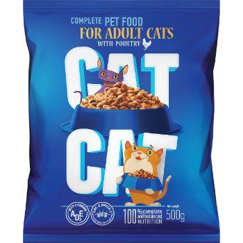 Barība kaķiem Cat Cat sausā ar mājputnu gaļu 500g