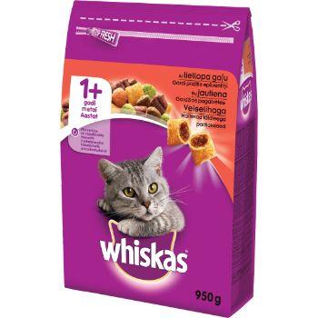 Barība kaķiem Whiskas ar liellopu gaļu 950g