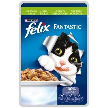 Barība kaķiem Felix konservs gaļas gabaliņi trusis 100g