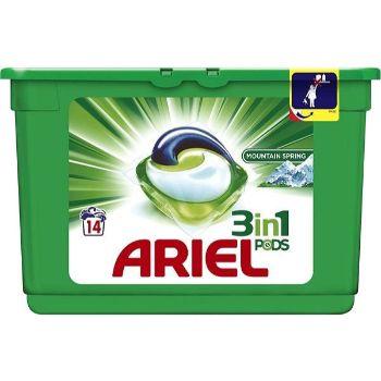 Veļas mazgāšanas kapsulas Ariel Mountain Spring 14gb