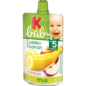 Biezenis Kubuš Baby ābolu- banānu augļu no 4 mēn.90g