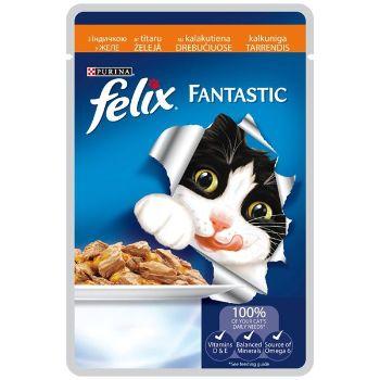 Barība kaķiem Felix konservs gaļas gabaliņi tītars 100g