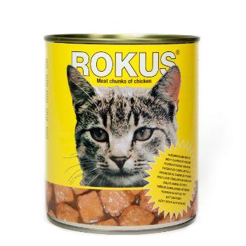 Barība kaķiem Rokus konservēta ar vistas gaļu 410g