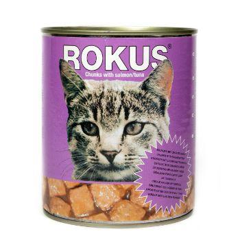 Barība kaķiem Rokus konservēta ar lasi 410g