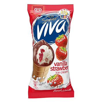 Saldējums Super Viva zemeņu 180ml/100g