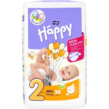 Autiņbiksītes Happy Mini 3-6kg 38gb