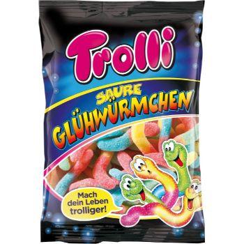 Želejkonfektes skābie Glowworms Trolli 100g