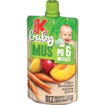 Biezenis Kubuš Baby ābolu-persiku-burkānu-banānu no 6 mēn.90