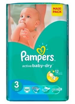 Autiņbiksītes Pampers active baby S3 68gb VPP
