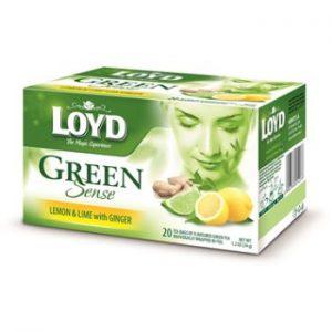 Tēja Loyd zaļā Sense ar citrona un laima garšu 34g