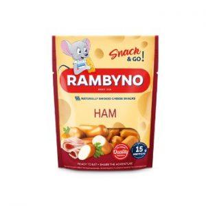 Kausētā siera uzkoda ar šķiņķi Rambyno Snack 45% 75g
