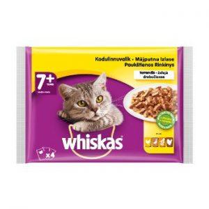 Barība kaķiem Whiskas 4 paka ar mājputnu gaļu 7+ maisiņš 400