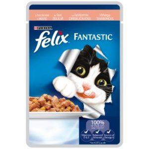 Barība kaķiem Felix konservs gaļas gabaliņi lasis 100g