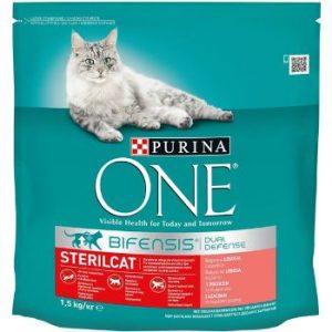 Barība kaķiem sausā One Steriliz. lasis/pilngr. kvieši 1.5kg
