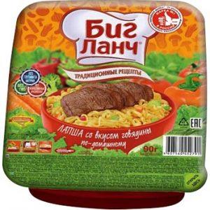 Nūdeles Big Lanč ar liellopa gaļas garšu mājas gaumē 90g