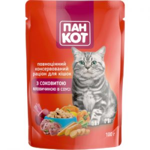 Barība kaķiem Pankot konservēta liellopa gaļa mērcē 100g